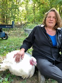 """Tosca Smith and her pet turkey """"Gobble"""""""